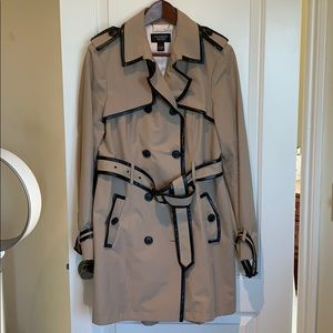 Never-worn Mid length trench with leather trim